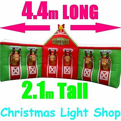 4.4m AirPower Reindeer Stables Outdoor Inflatable Christmas Decoration w/ Lights