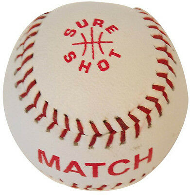 Sure Shot Baseball Sports White Leather Top Level Match Playing Rounder Ball 7""