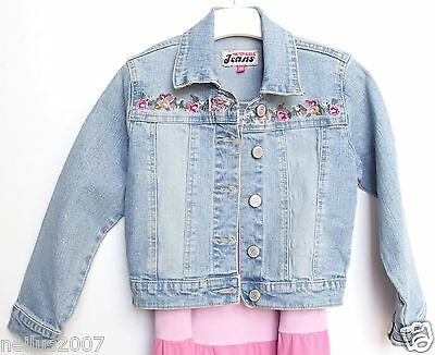 Foster Girls Jeans Denim Blue Jacket Embroidered Faded Look Age 4
