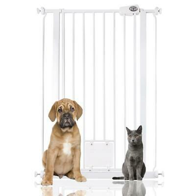 Bettacare Extra Tall Pet Gate with Lockable Cat Flap Indoor Dog Gate 75-84cm