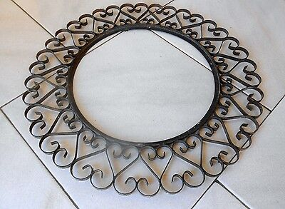 "Vintage french Wrought iron Wall round PLAQUE PEDIMENT FRAME 15.40"" D"