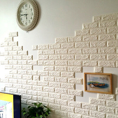 DIY Brick Pattern Wall Stickers Self-Adhesive White Foam Panels Decal 3D 70x30cm