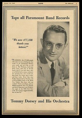 1938 Tommy Dorsey photo vintage music trade print ad