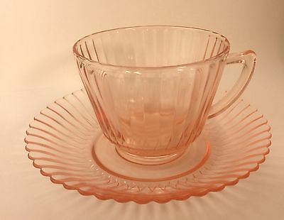 Macbeth Evans Depression Pink Glass Petalware Tea Cup & Saucer Set s