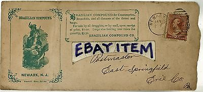 1885 Advertising envelope BRAZILIAN COMPOUND Newark New Jersey COMSUMPTION Quack