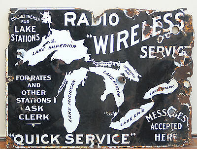 Early Inland Marine Cw Wireless Radio Service Porcelain Sign Great Lake Stations