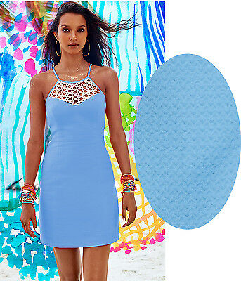 9b32520a9b1df1 $198 LILLY PULITZER Pearl Lapis Blue w/ Gold Lace Pique Shift Dress ...