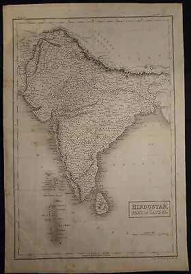 Antique Map Of Hindustan W/ Part Of Caubul India Engraved By S. Hall