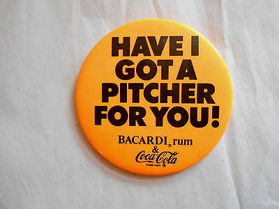 Vintage Bacardi Rum & Coca Cola Advertising Pinback Button