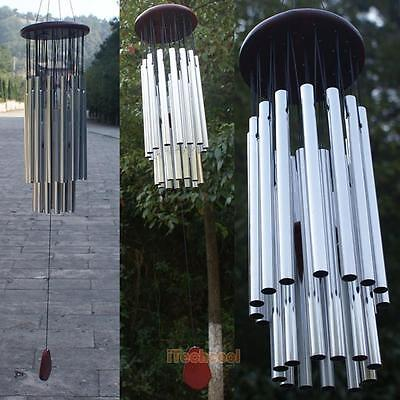 27 Tubes Wind Chimes Silver Tube Bells Church Hanging Outdoor Garden Bells Decor
