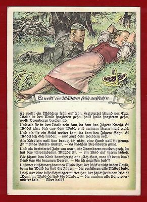 """Germany """"A girl shall get up early"""" Heritage Postcard, printed in Stuttgart"""