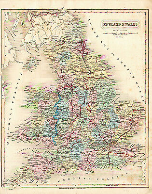 1838 Full Hand Color Map of ENGLAND and WALES - SDUK - Great detail - Railroads