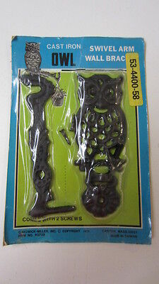 Vintage Cast Iron Owl Swivel Arm Wall Bracket, NIP, Chadwick Miller, 1975