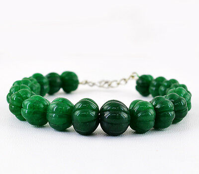 TOP GRADE SELLING 334.50 CTS EARTH MINED GREEN EMERALD CARVED BEADS BRACELET
