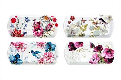 Floral Bird Small Melamine Tea Coffee Biscuit Cake Serving Tray Choice Of Design