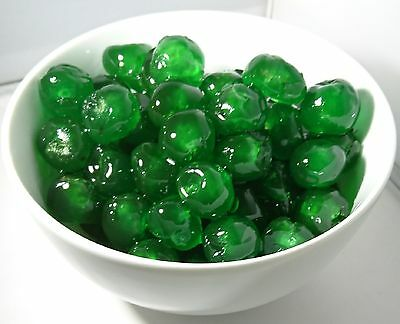 Green Coloured Glace Cherries 100g. Ideal for Cake Decorating/Baking & Cocktails