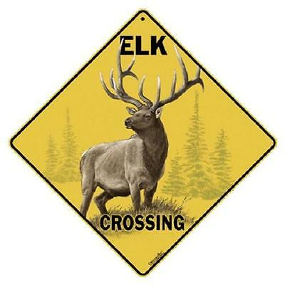"Elk Metal Crossing Sign 16 1/2"" x 16 1/2"" Diamond shape made in USA #350"