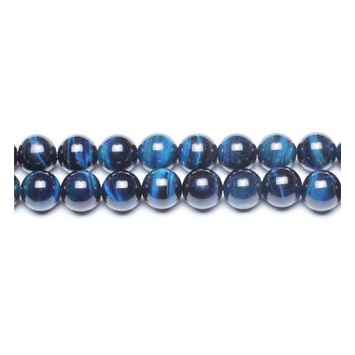 Strand Of 62+ Blue Tiger Eye (Dyed) 6mm Plain Round Beads GS0367-1