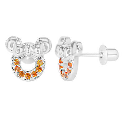 Rhodium Plated Orange CZ Mouse Bow Screw Back Earrings Toddler Girl