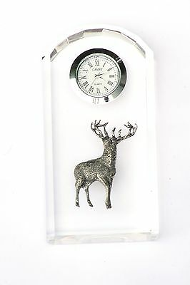 Standing Stag Design Glass Clock Bedside or Desk Top Hunting Gift Boxed