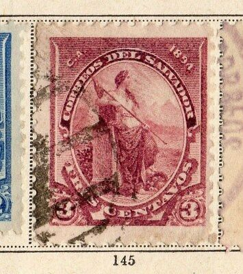 El Salvador 1894 Early Issue Fine Used 3c. 094197