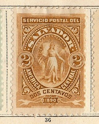 El Salvador 1890 Early Issue Fine Mint Hinged 2c. 094226