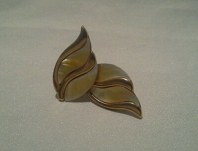 Vintage Butler Clip On Earrings Ivory Color Mother of Pearl Leaf  Gold Tone 1.5""