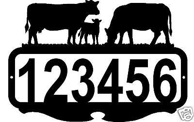 Custom Address Sign Personalized Name Metal Art Cows Rustic Farm Ranch Decor