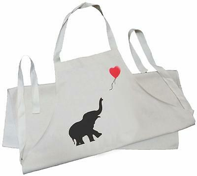 Elephant With Balloon - Natural (Cream) Cotton Drill Adult Apron
