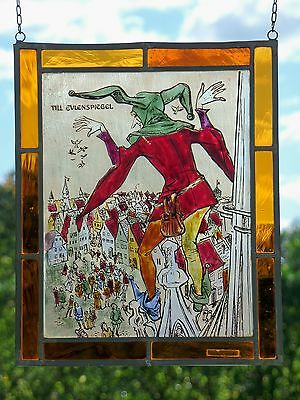 Leaded Glass Window Image rare old Stained glass picture Till Eulenspiegel