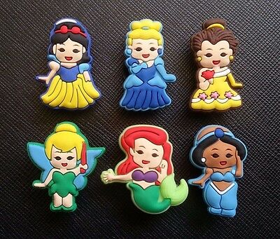 6 Cute Baby Disney Princesses Croc Shoe Charms Crocs Jibbitz Wristbands Princess