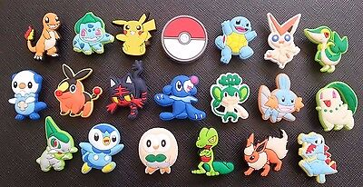 20 Pokemon Go Croc Shoe Charms Crocs Jibbitz Wristbands Shoes Pikachu Poke Ball