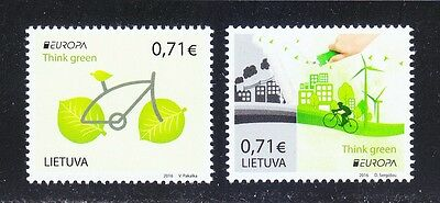 Lithuania 2016 MNH Europa Cept Cycling Bycicle Think Green set