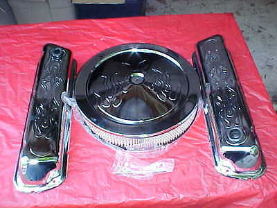 Tall chrome FORD SB Flamed valve cover & air cleaner kit,302/351-W/289,mustang