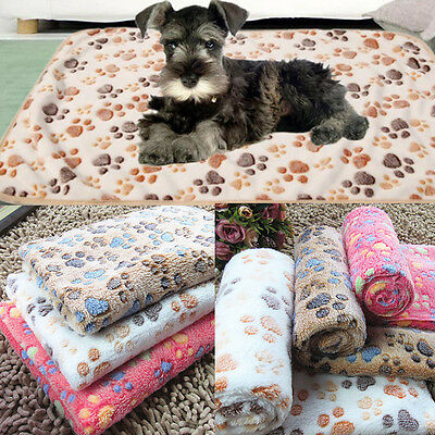 Cashmere Soft Warm Pet Mat Paw Print Cat Dog Puppy Fleece Blanket Bed Cushion