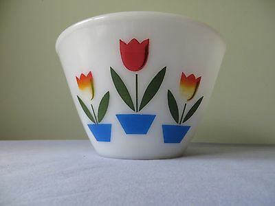 Vintage Fire King Tulip White Mixing Bowl 7.5 Inches Wide 4.5  Inches Tall