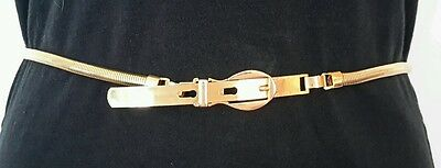 """Vintage Gold Tone Snake Chain Belt 30"""" Thin Stretchy Buckle Unique Dainty"""