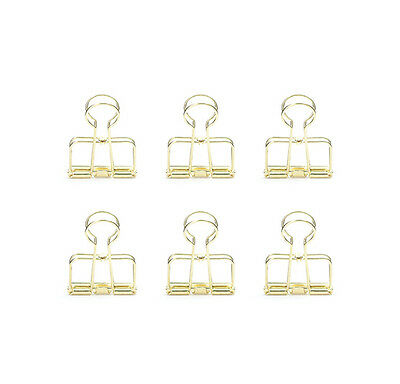Kikkerland OR73-GD Brass Wire Clips, Paper-Clips Binder Style set of 6 gold