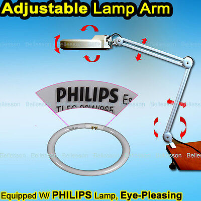 Desk Magnifying Lamp Light Beauty 5 Diopter Magnification Magnifier Clamp Salon