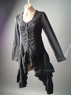 Edwardian Victorian Mourning Steampunk Goth Bustle Tailcoat Top 104 ac Blouse L