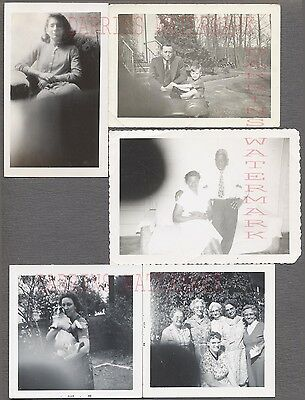 Lot of 5 Unusual Vintage Photos Family & Pretty Girl Finger Bomb Mistake 707602