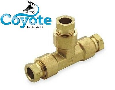 """High Pressure 1/4"""" Tube OD Tee Compression Brass Fitting Coyote Gear USA Made"""