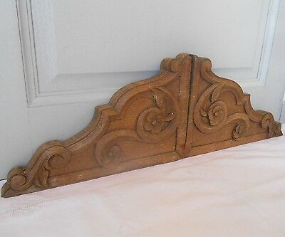 2 Antique french WOOD Carved FLORAL PLAQUES PEDIMENTs PANELS