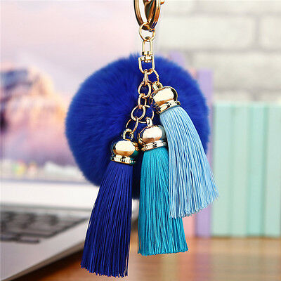 Cell Phone Car Keychain Handbag KeyRing Rabbit Fur Ball PomPom Pendant