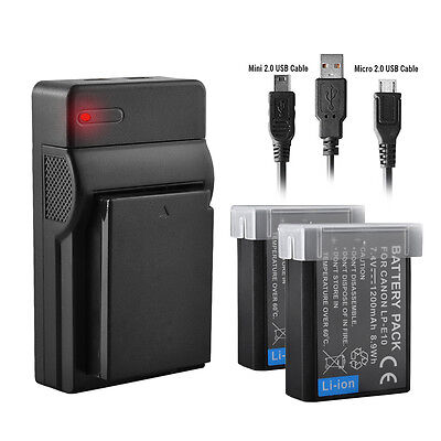 2xBattery+USB Charger For Canon LP-E10 LPE10 EOS 1100D 1200D Rebel T3 Kiss X50