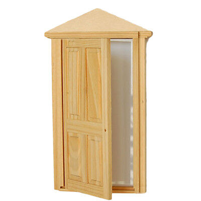 1/12th Dollhouse Miniature 4-Panel Exterior Wooden Door with Frame Steepletop