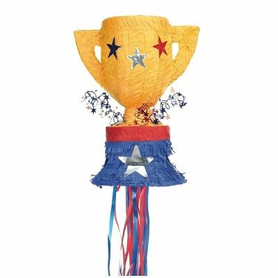 Trophy Pull String Pinata Gold, Blue and Red - Party Games