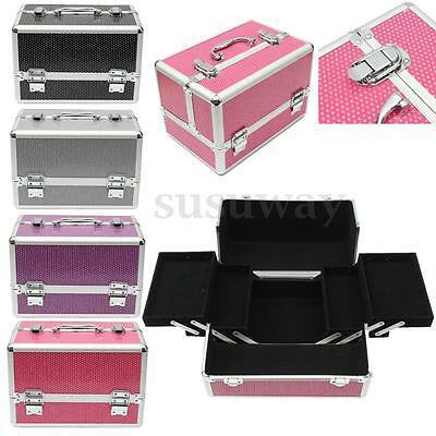 Portable Beauty Aluminum Cosmetic Makeup Carry Case Jewellery Travel Box