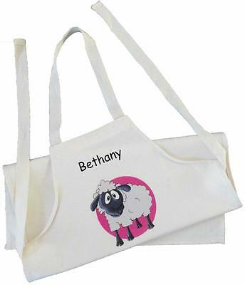 Personalised - Sheep Design - Natural (Cream) Cotton Drill Apron - Pink