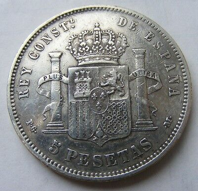 ESPAGNE ALFONSO XIII 5 PESETAS 1892 Stars 18 - 92 ARGENT/SILVER
